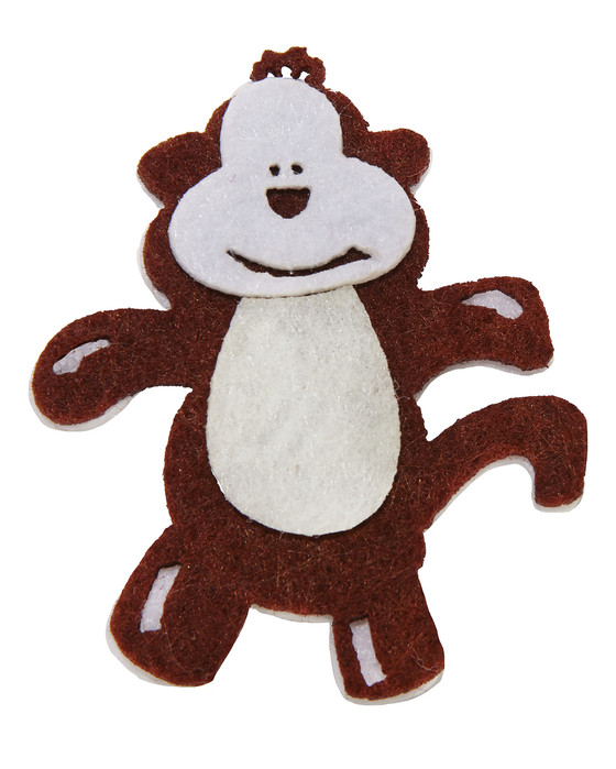 Monkey Embellishment Made of Felt-Brown and Off-White