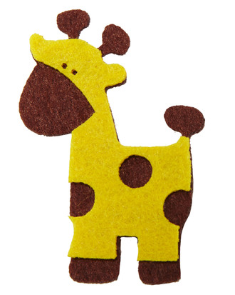 Giraffe Embellishment Made of Felt-Brown and Yellow