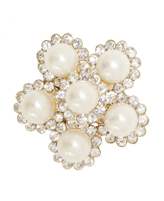 Pearl Embellishment set in 5 Imitation Pearls Surrounded with 60 mini Rhinestones