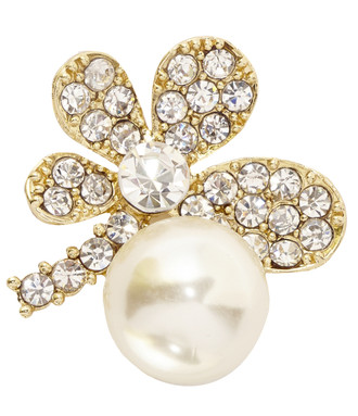 Flower Shape Embellishment with a Large Imitation Pearl