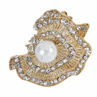 Sparkling Brooch Crinkled Gold Pearl