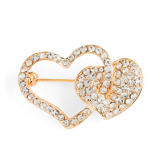 Two Hearts Love Brooch-Gold Plated