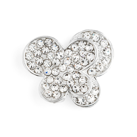 Two Hearts Embellishment- Silver Plated Grade A Rhinestones