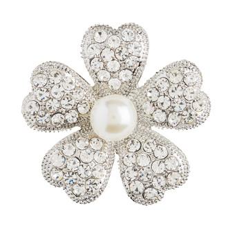 Flower Rhinestone Embellishment-Silver Plated