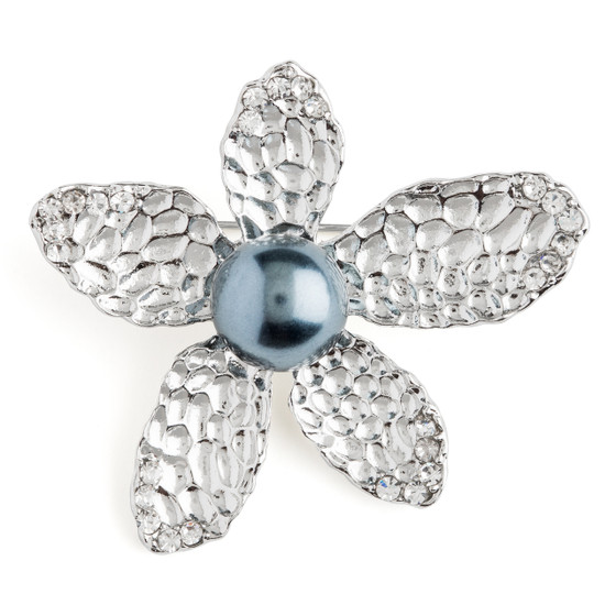 Hammered Nickel Plated Flower Center Grey imitation Pearl