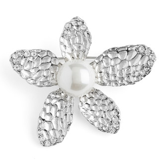 Hammered Nickel Plated Flower Center Imitation Pearl