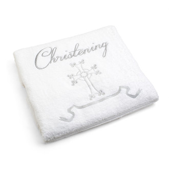 Christening Towel/White with Silver Embroidery