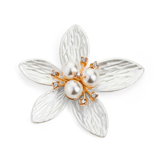 Pearl Rhinestone Flower Embellishment