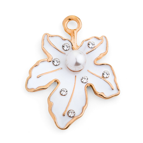 Jeweled Leaf Pendant Embellishment