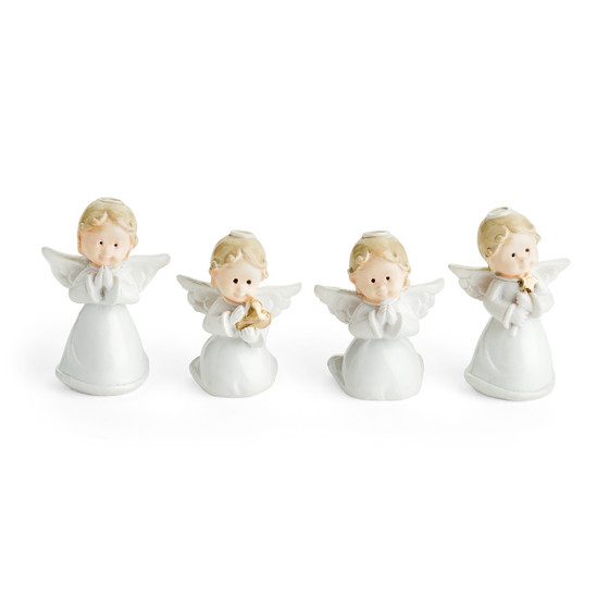 Four Little Miniature Ceramic Angel Figurines