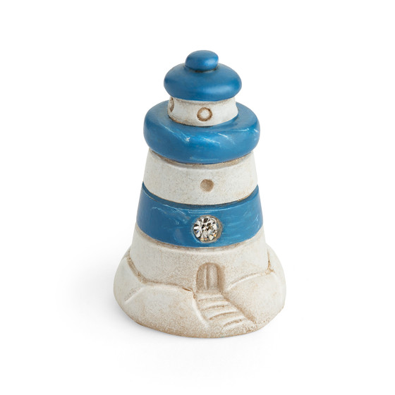 Blue and White Striped Miniature Lighthouse Figurine