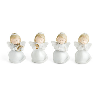 Four Little Miniature Ceramic Angel Figurines
