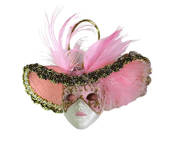 Miniature Masquerade Mask Ornament/Pink