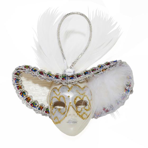 Miniature Masquerade Mask Ornament/Silver