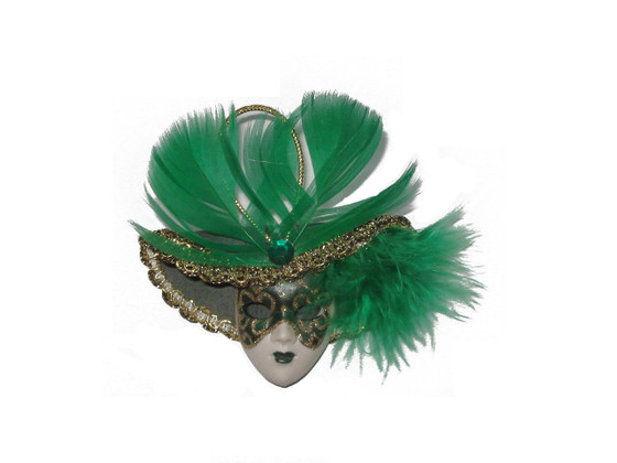 Miniature Masquerade Mask Ornament/Green