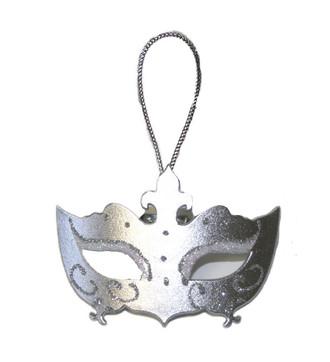Masquerade Mask Ornament/Silver Tone