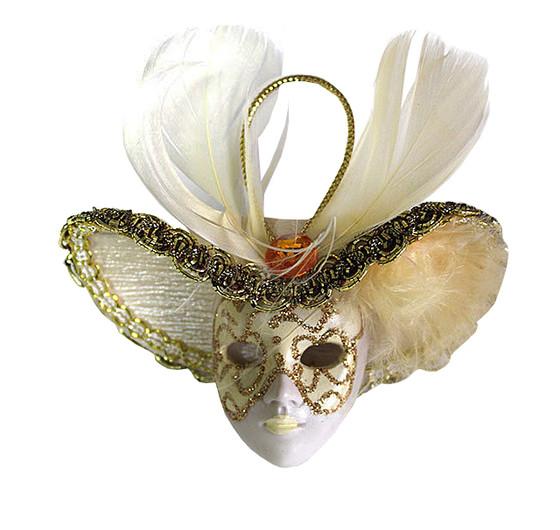 Miniature Masquerade Mask Ornament/Gold Tone