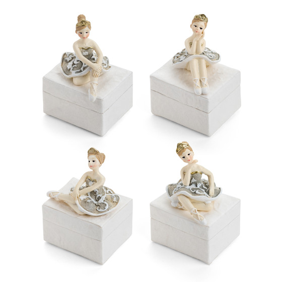 Sitting Ballerinas on Mulberry Favor  Boxes/Set of 4