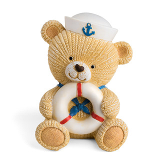 Little Teddy Bear Sailor Coin Bank Holding a Life Ring