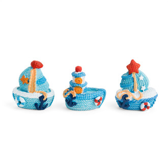 Resin Sailing Boat 3D Motift/Asst. of Three Different Designs