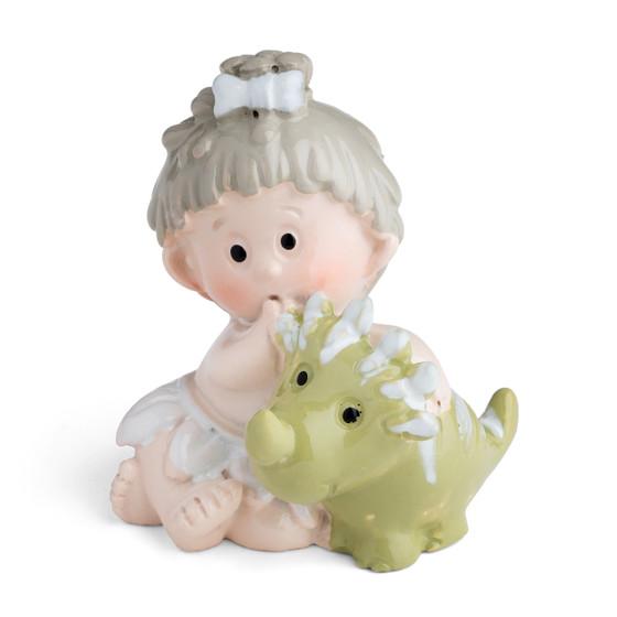 Toddler Girl Holding a Pet Baby Dinosaur Motif