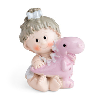 Toddler Girl Holding a Pet Baby Pink Dinosaur Motif
