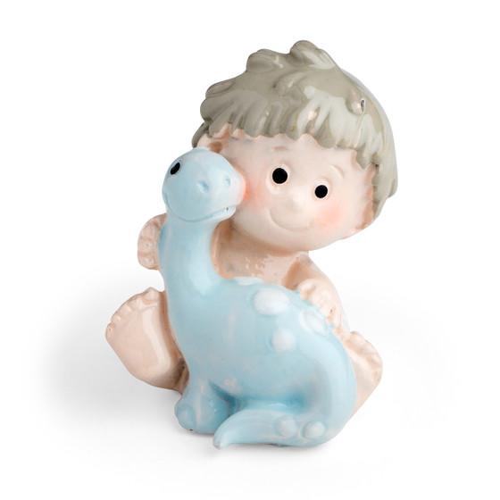 Toddler Boy Holding a Pet Baby Blue Dinosaur Motif