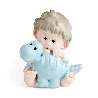 Toddler Boy embracing a Pet Baby Blue Dinosaur Motif