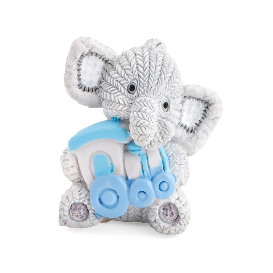 Resin Elephant Holding a Blue Train