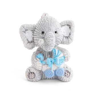 Resin Elephant Holding a Blue Stroller