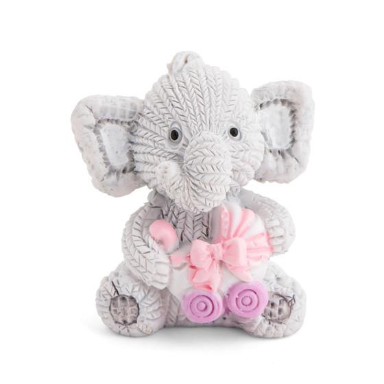 Resin Elephant Holding a Pink Stroller