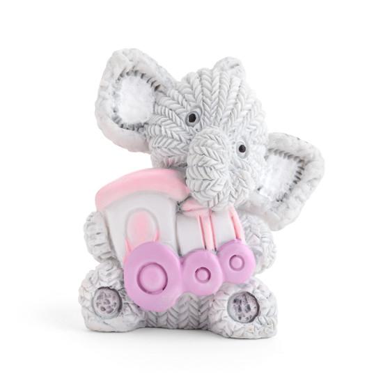 Resin Elephant Holding Pink Train