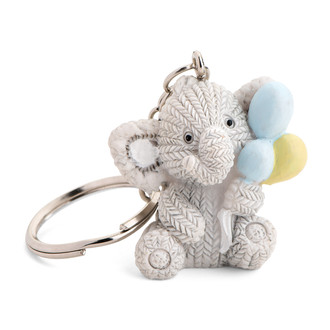 Resin Elephant Holding a Balloons,Blue, White, Yellow