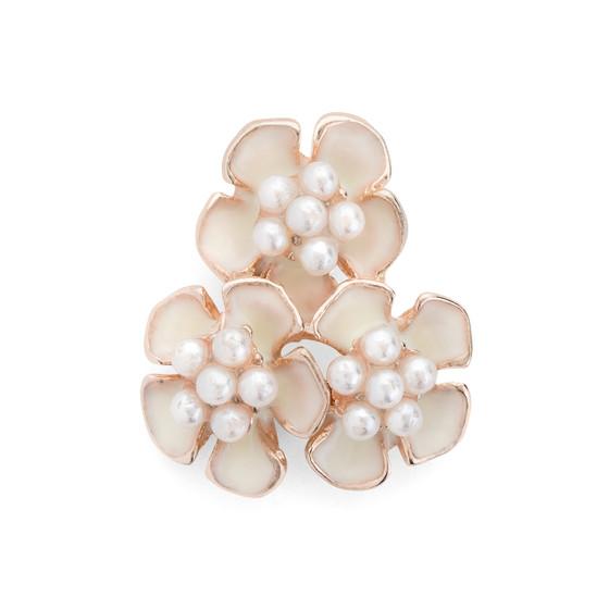 Trio Flowers Enameled w. Imitation Pearl