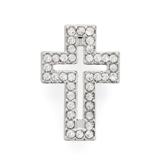 Rhinestone Cross Bracelet Silver Plated