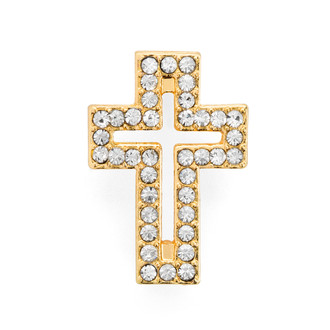 Rhinestone Cross Bracelet Gold Plated