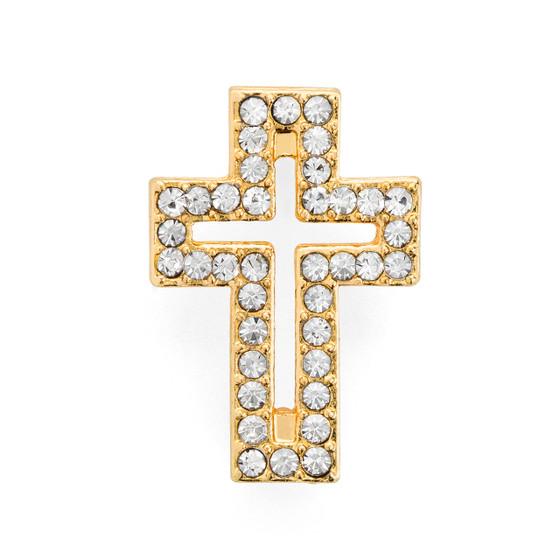Rhinestone Cross Bracelet Gold Plated
