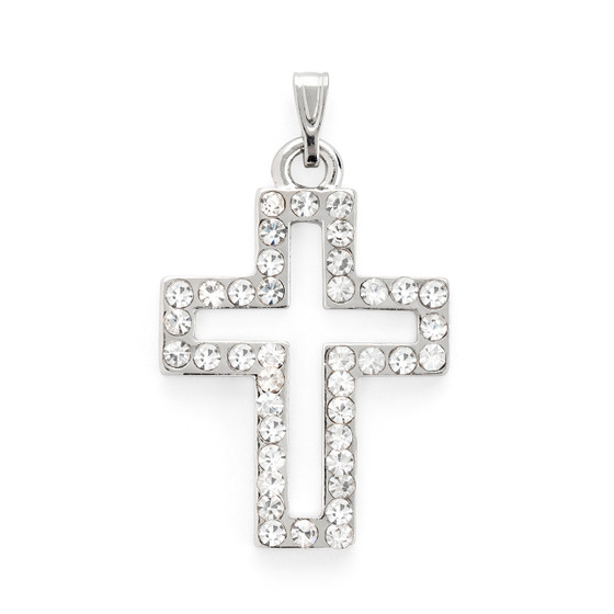 Rhinestone Cross Pendant Bracelet Silver Plated