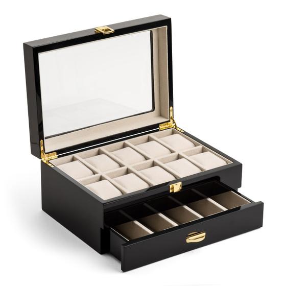 Piano Finish Burgundy Wood Watch and Jewelry Organizer Box
