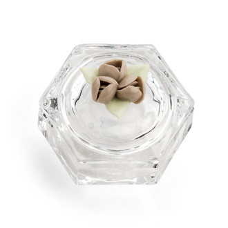 Bridal Shower Crystal Candy Dish W. Capodimonti Ceramic Flower