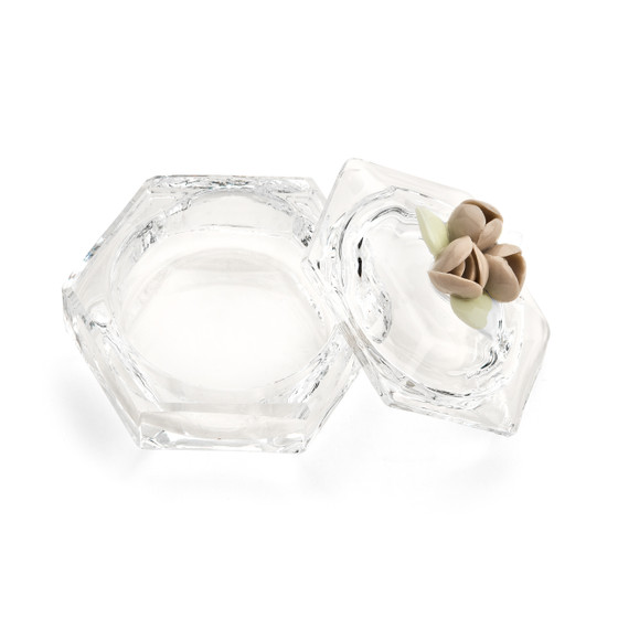 Bridal Shower Crystal Candy Dish W. Capodimonti Ceramic Flower-Open Lid