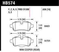 Hawk 07+ Mini Cooper HP+ Street Rear Brake Pads