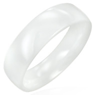 White Ceramic Wedding Band Ring 8.0mm