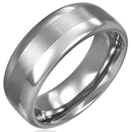 On your wedding day, present him with a sophisticated style that is handsome and durable enough to be enjoyed for a lifetime. Crafted of sleek tungsten carbide, the design features a smooth, satin stripe across the center with a brushed finish. Tungsten carbide is a true innovation in jewelry. Tungsten is virtually impossible to scratch and is much heavier and denser than gold. Metal gram weight varies based on the ring size selected. The inside of the band's shank is rounded for comfort. Tungsten rings cannot be resized after purchase