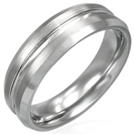 Tungsten Carbide Satin Finished 7.0mm Grooved Band Ring