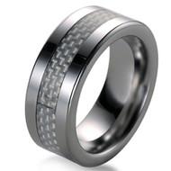 White 8.0mm Carbon Fiber Inlay Tungsten Carbide Ring