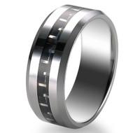 Black Inlay 8.0mm Tungsten Ring