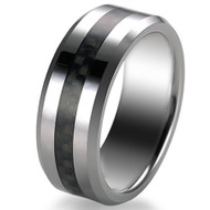 Tungsten Carbide 8.0mm Thin Fiber Band Ring