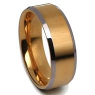 Bevel Edge Gold Tungsten Carbide Ring 8.0mm