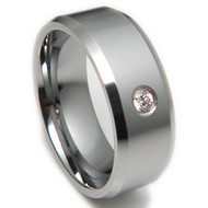 Diamond Accent 8.0mm Comfort Fit Tungsten Carbide Wedding Band